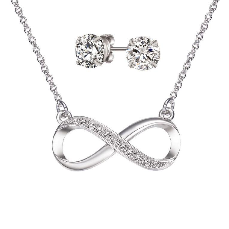 Mestige Silver Plated Swarovski Crystal Infinity Necklace & Earrings Set, , hi-res