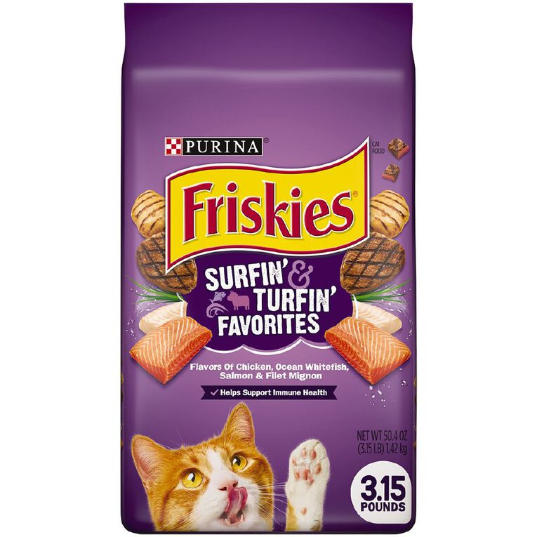 Friskies Surfin & Turfin Favourites Dry Cat Food  1.42kg, , hi-res