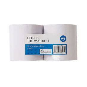 WS Eftpos Roll 80 x 80mm Twin Pack 65gsm Thermal