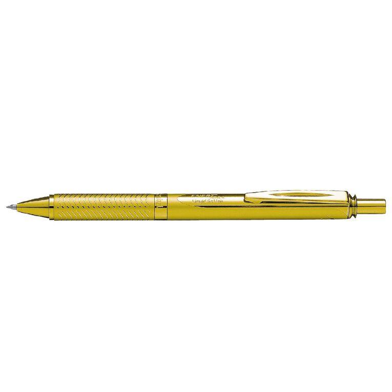 Pentel Energel Pen Aluminium 0.7mm Black Ink Gold, , hi-res