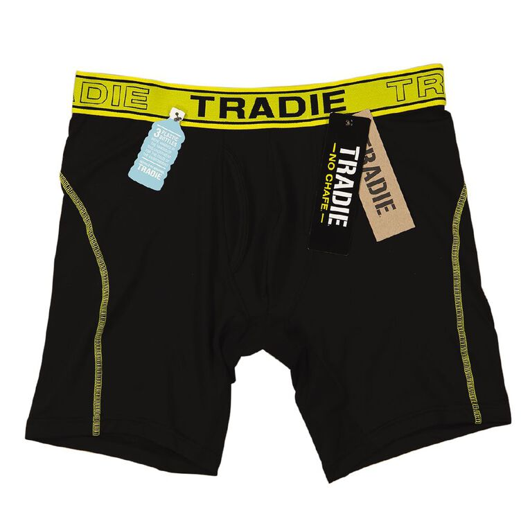 Tradie Men's No Chaffe Recycled Trunks, Black/Yellow, hi-res