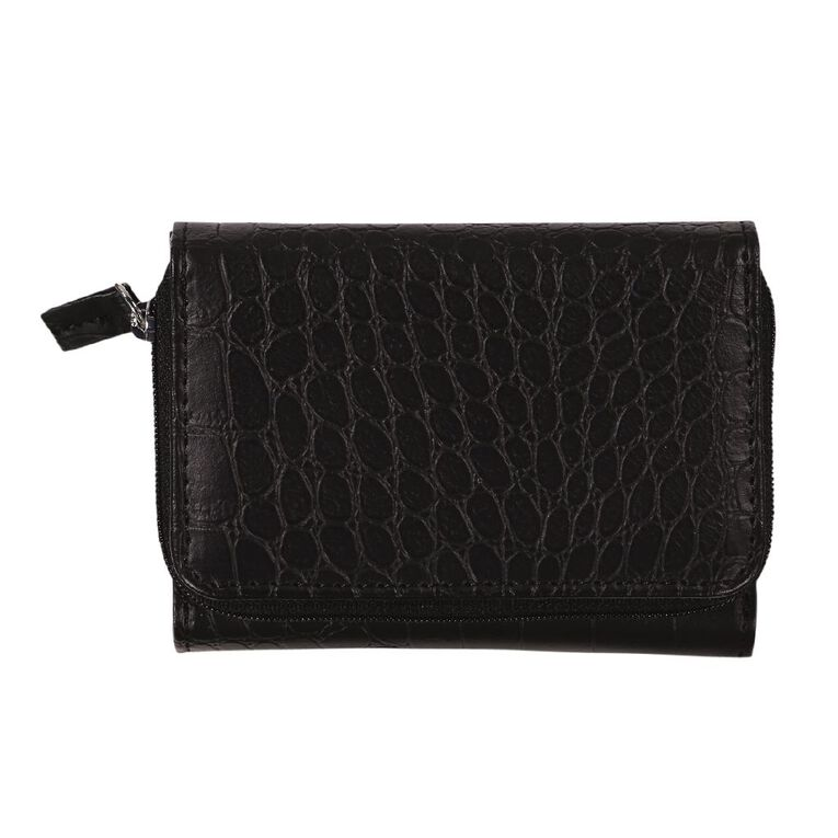 H&H Croc Small Zip Around Purse, Black, hi-res