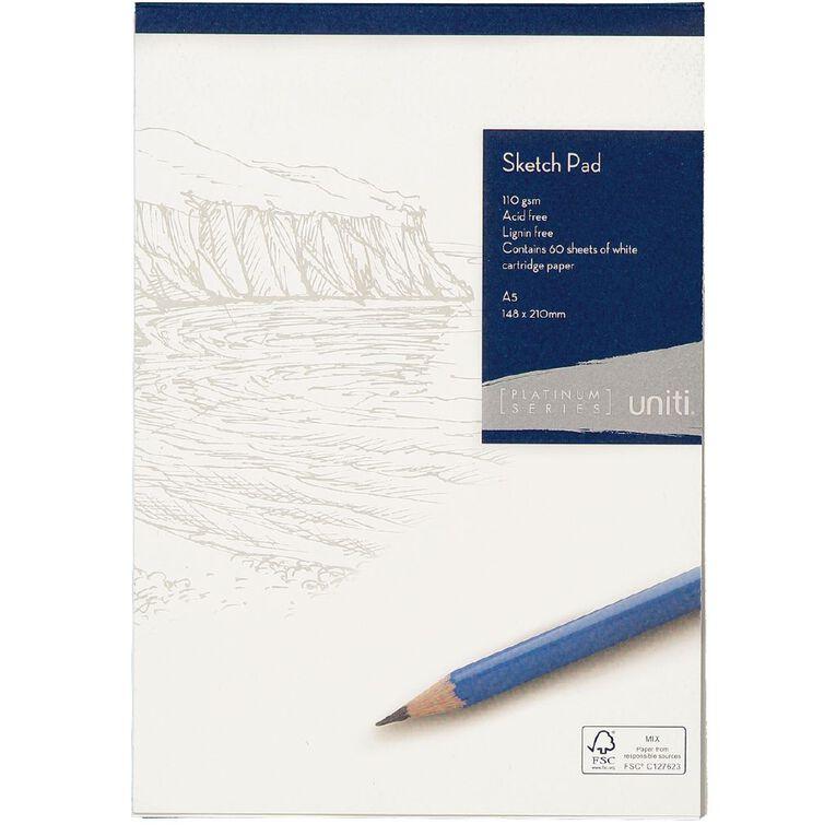 Uniti Platinum Sketch Pad 110gsm A5 60 sheets, , hi-res