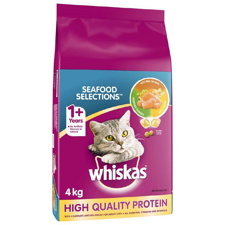 Whiskas Adult Dry Cat Food Seafood Selections 4kg Bag, , hi-res