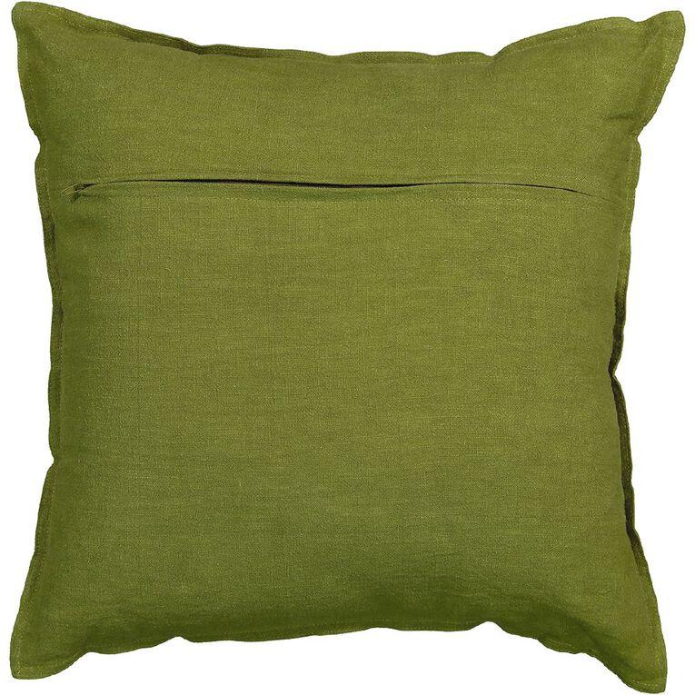 Living & Co Linen Rich Pesto Cushion Green Light 50cm x 50cm, Green Light, hi-res