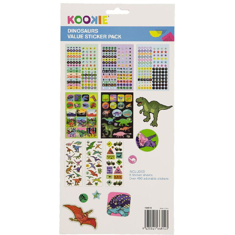 Kookie Sticker Value Pack 8 Sheet Dinosaurs, , hi-res