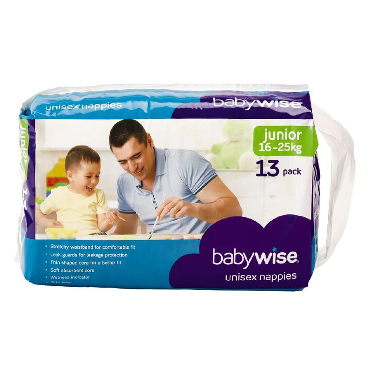 Babywise Nappies Junior Convenience 13 Pack, , hi-res