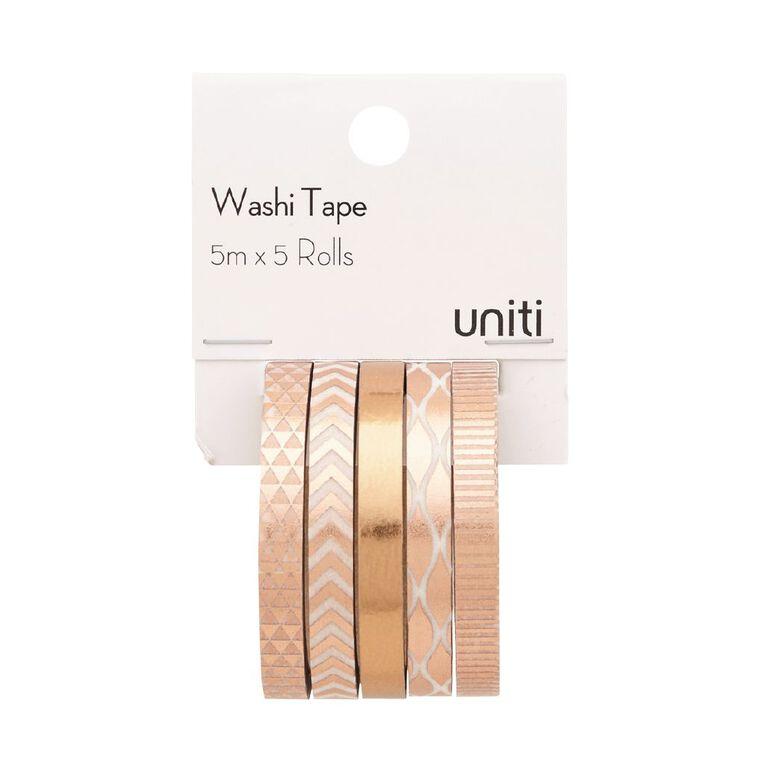 Uniti Washi Tape Thin 5 Pack Rose Gold, , hi-res