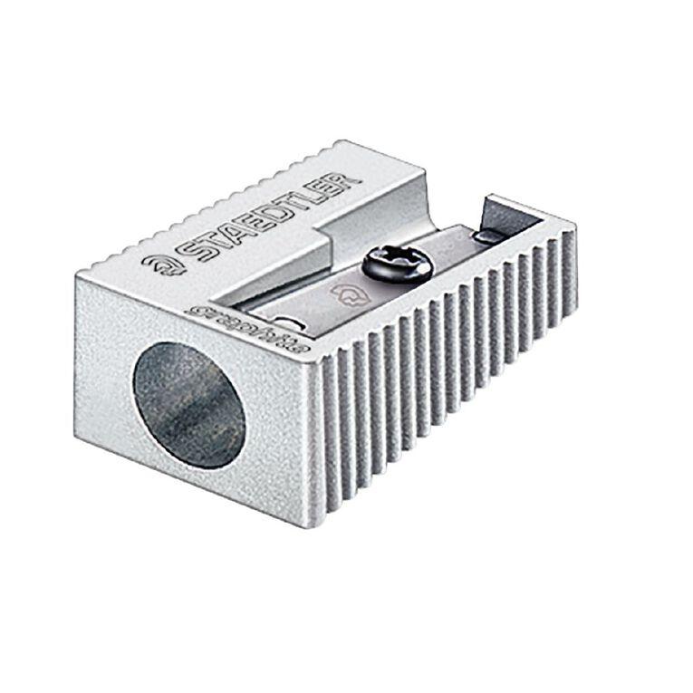 Staedtler Metal Single Hole Sharpener Silver Grey Standard, , hi-res