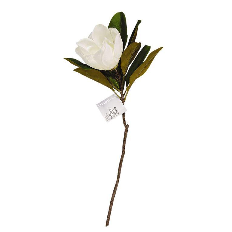 Living & Co Artificial Queen Magnolia Stem Ivory 75cm, , hi-res