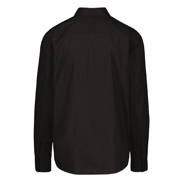 H&H Long Sleeve Plain Cotton Shirt, Black, hi-res