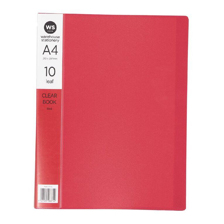 WS Clear Book 10 Leaf Red A4, , hi-res