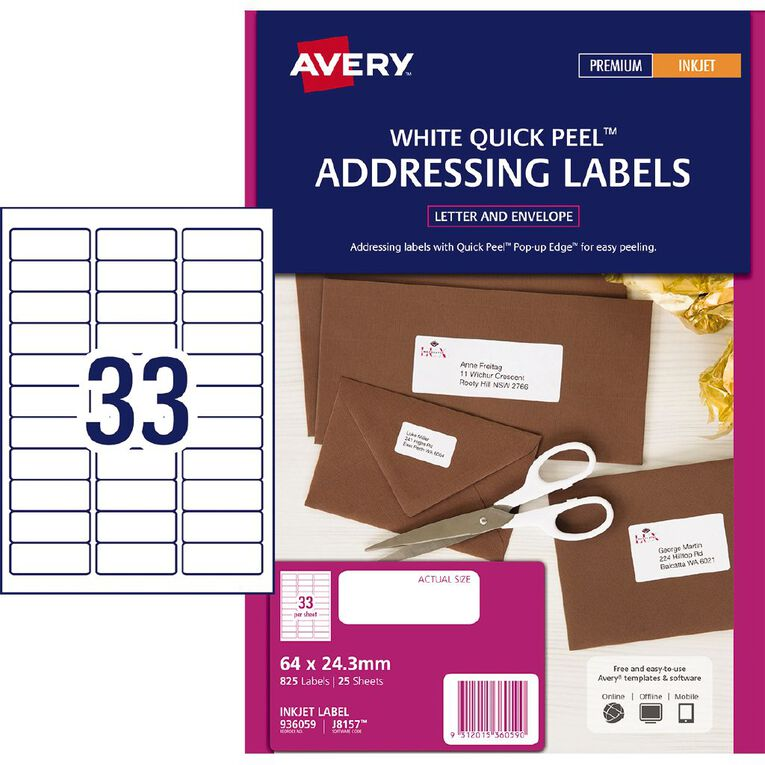 Avery Inkjet Address Labels with Quick Peel White 64 x 24.3mm 825 Labels, , hi-res