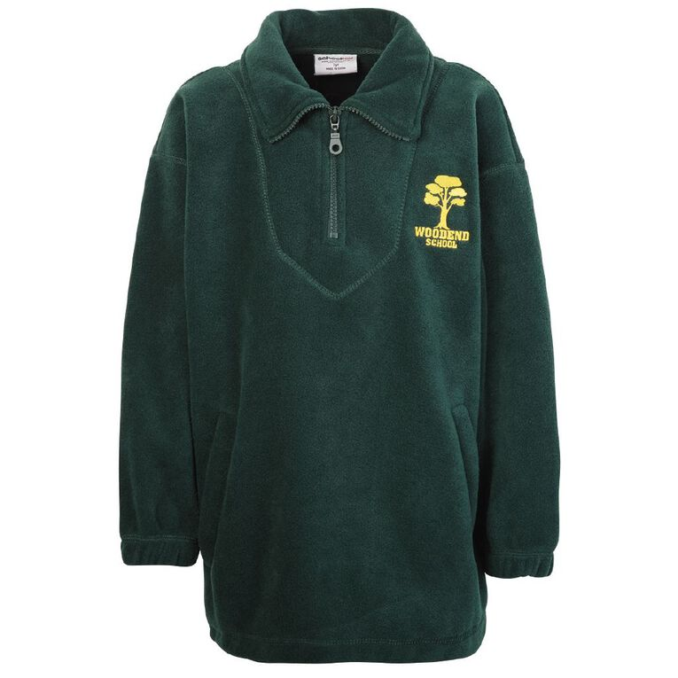 Schooltex Woodend Polar Fleece Top with Embroidery, Bottle Green, hi-res