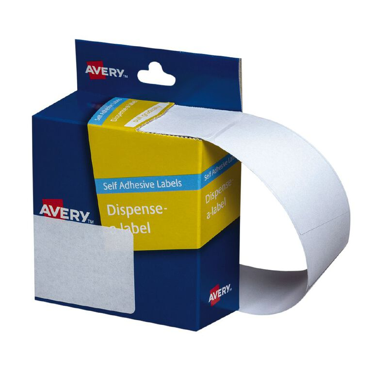 Avery White Rectangle Dispenser Stickers 89x43mm 100 Labels Handwritable, , hi-res