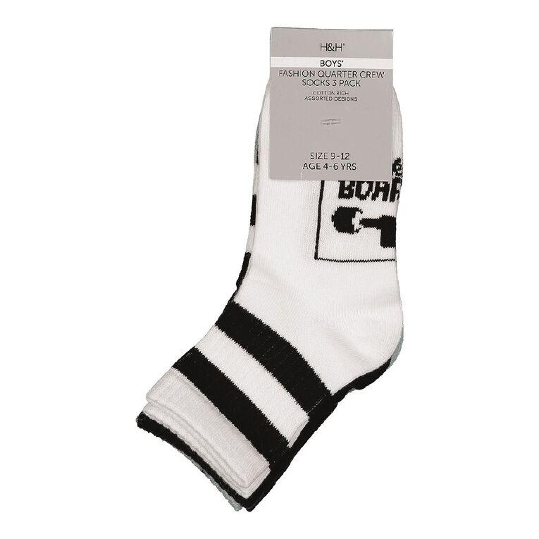 H&H Boys' Quarter Crew Socks 3 Pack, Black, hi-res image number null
