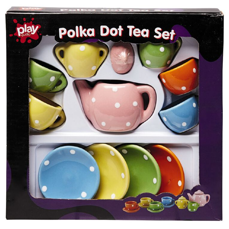 Play Studio Tea Set Polka Dot 13 Piece, , hi-res