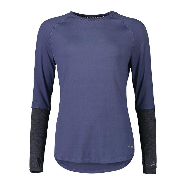 Active Intent Women's Long Sleeve Colour Block Tee, Blue Dark, hi-res