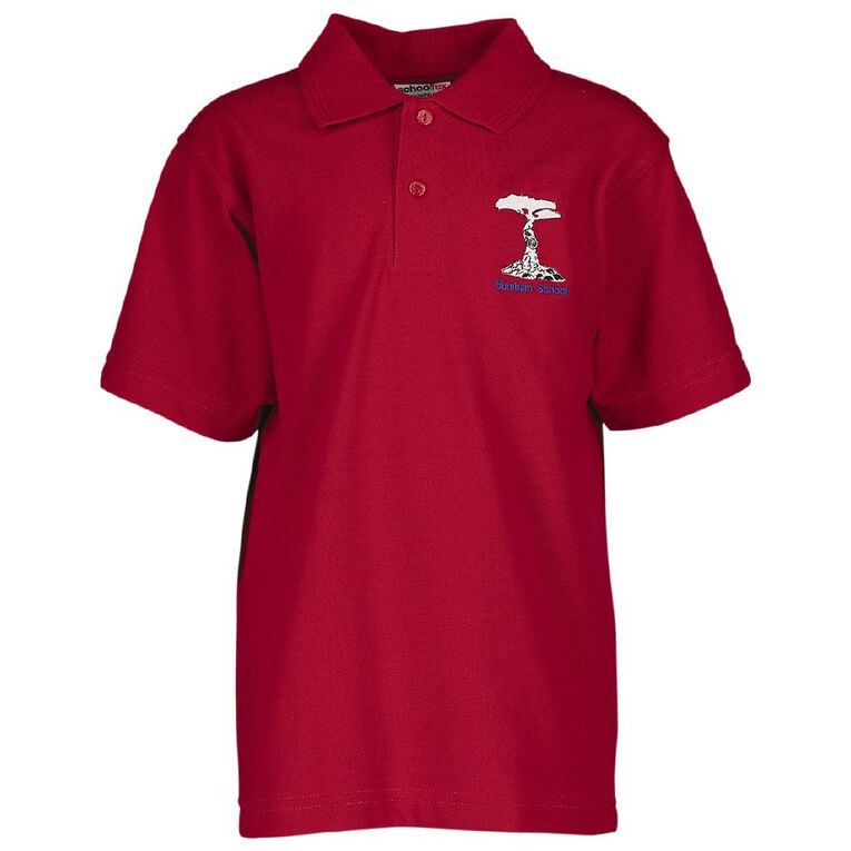 Schooltex Burnham School Short Sleeve Polo with Embroidery, Red, hi-res