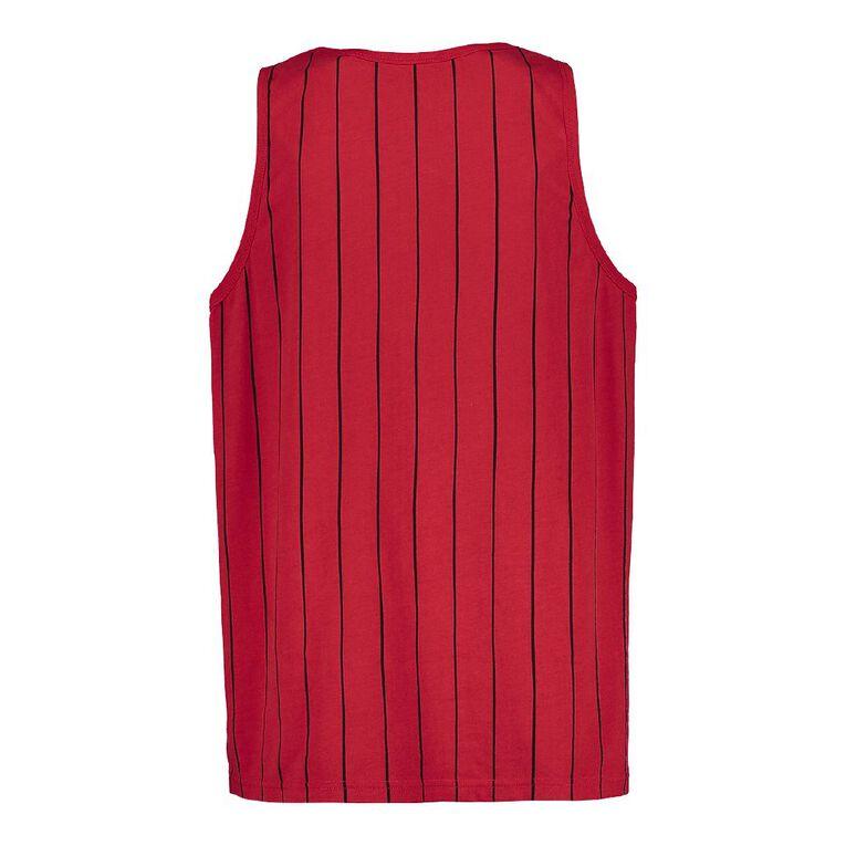 H&H Men's Vertical Stripe Embroidery Singlet, Red, hi-res