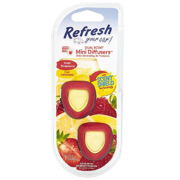 Refresh Your Car Mini Diffuser Fresh Strawberry/Cool Lemonade 2 Pack, , hi-res