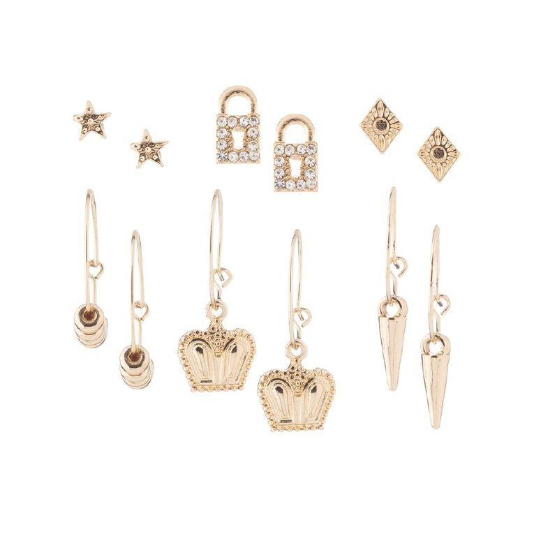 Padlock Crown Gold Earring 6 Pairs, , hi-res