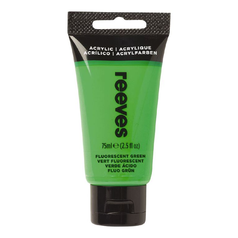 Reeves Fine Acrylic 75ml Fluorescent Green 882 75ml, , hi-res