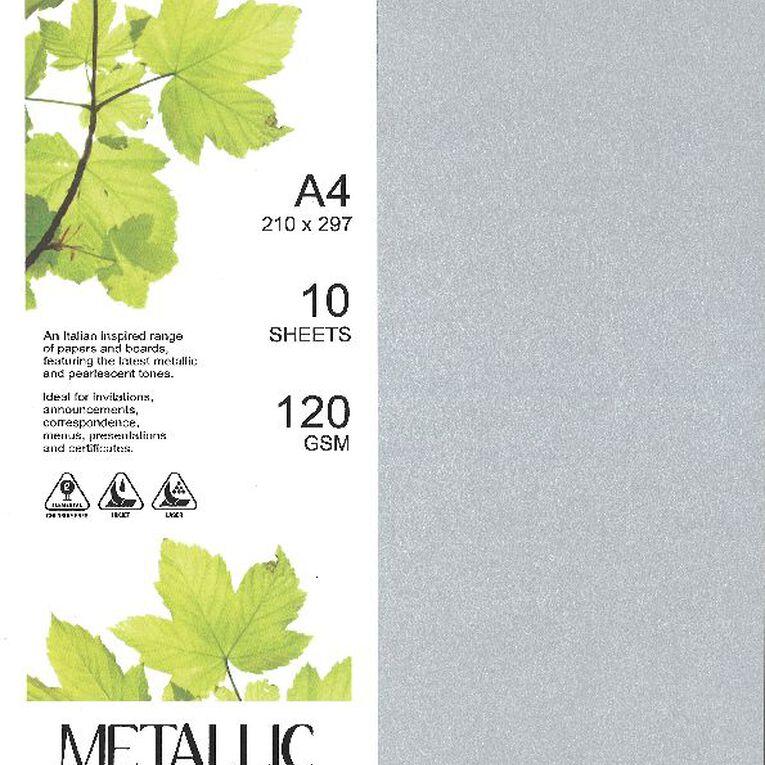 Direct Paper Metallic Paper 120gsm 10 Pack Silver A4, , hi-res