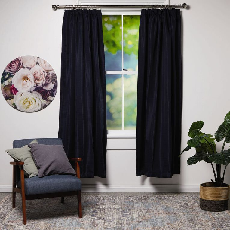 Living & Co Subway Curtains Midnight Blue Dark 150-230cm Wide/160cm Drop, Blue Dark, hi-res