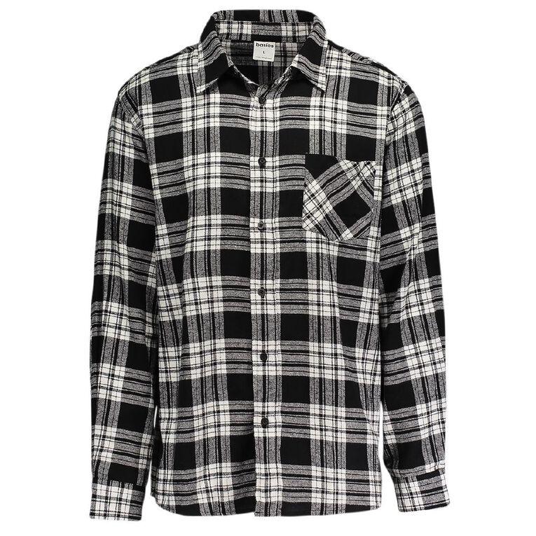 H&H Long Sleeve Flannelette Shirt, Black, hi-res