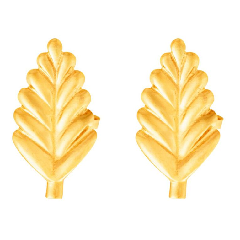 9ct Gold Leaf Stud Earrings, , hi-res