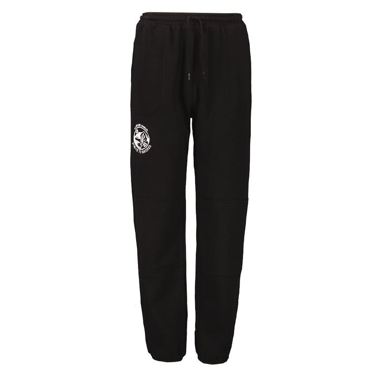 Schooltex Pt England Cuffed Trackpants with Embroidery, Black, hi-res