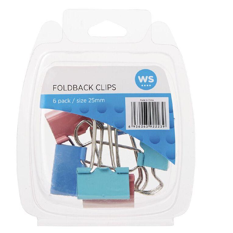WS Foldback Clips 25mm 6 Pack Colour, , hi-res