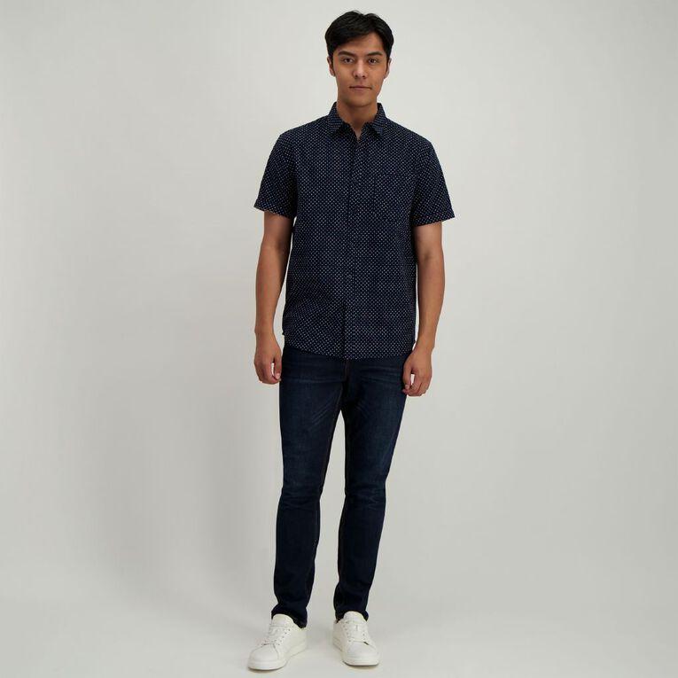 H&H Men's Short Sleeve Dobby Print Shirt, Navy, hi-res