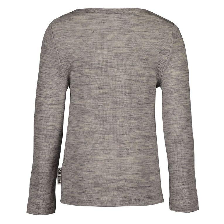 H&H Merino Long Sleeve Thermal Top, Grey, hi-res