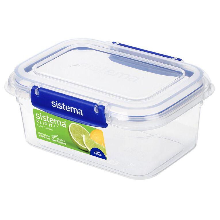 Sistema Klip It Plus Rectangular Container Blue 1L, , hi-res