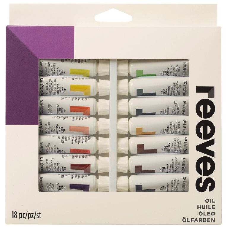 Reeves Oil Paint Set 18 Tubes Multi-Coloured, , hi-res