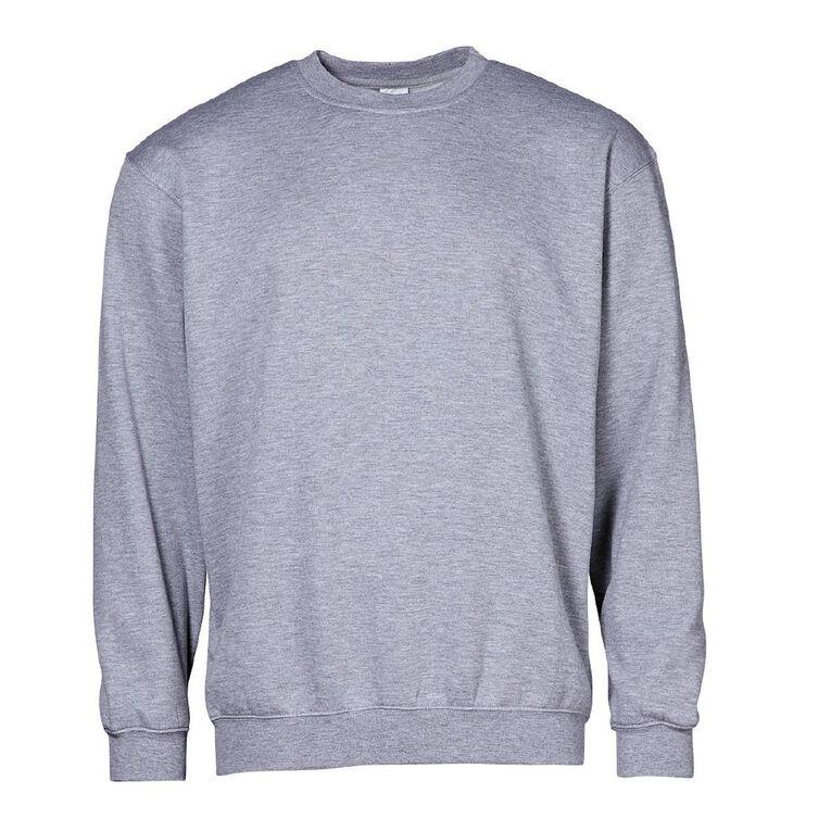 H&H Men's Plain Crew Sweatshirt, Grey Mid, hi-res