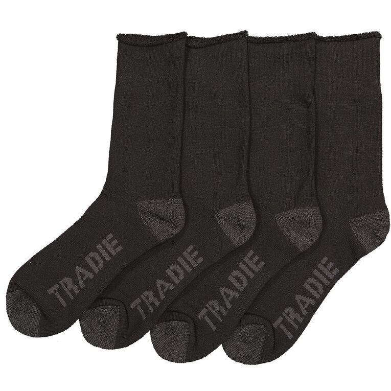 Tradie Men's Tough Work Socks 2 Pack, Black/Grey, hi-res