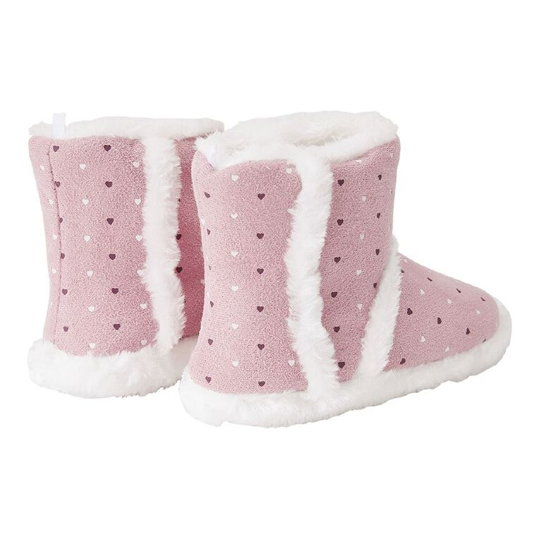 Young Original Girls' Heart Slippers, Pink, hi-res
