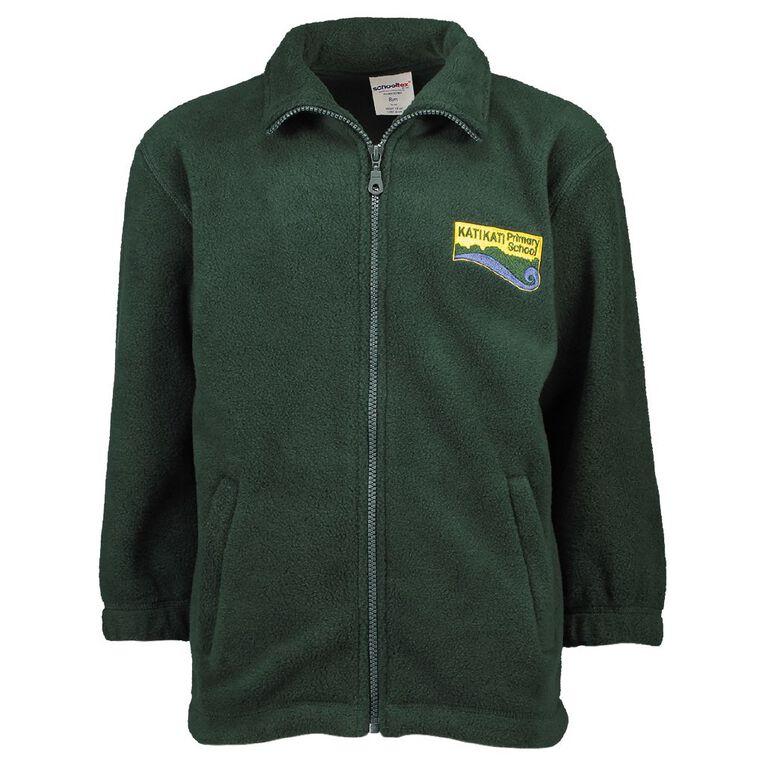 Schooltex Katikati Zip Jacket with Embroidery, Bottle Green, hi-res