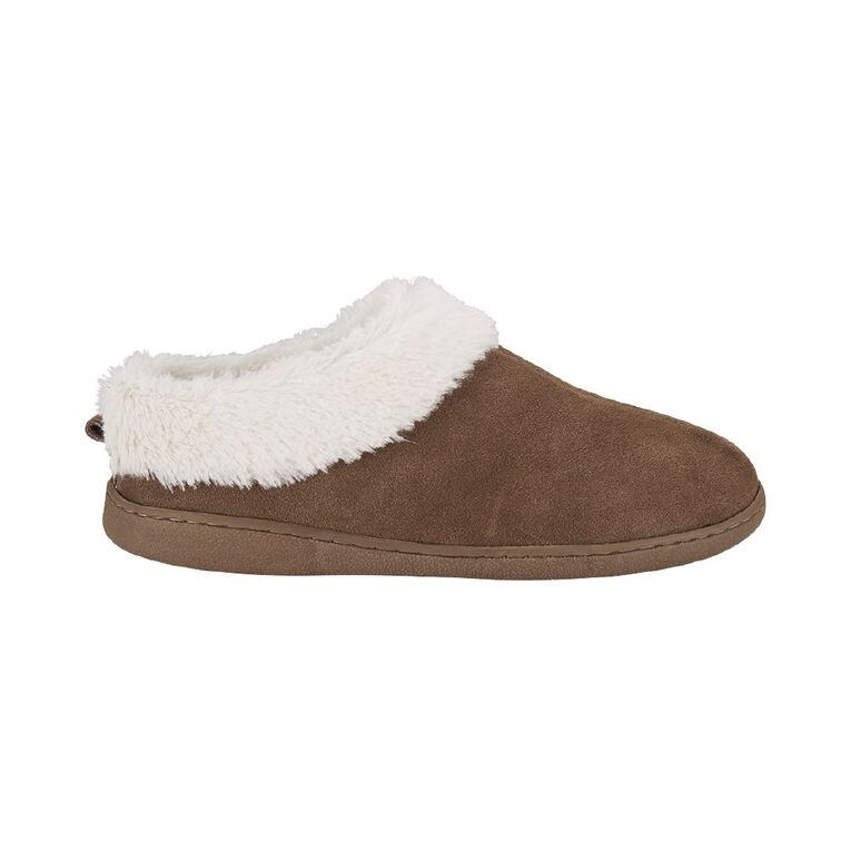 H&H Women's Suede Scuff Slippers, Brown, hi-res