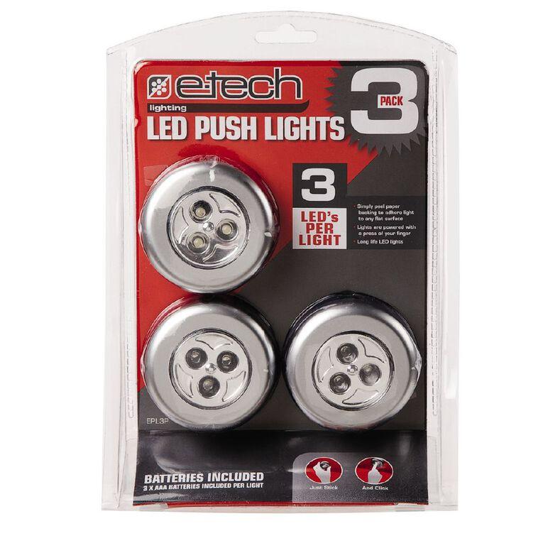 E-Tech LED Push Lights 3 Pack, , hi-res