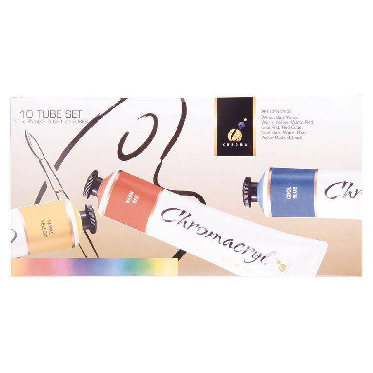 Chromacryl Students Acrylic 10 x 75ml Tube Set Multi-Coloured, , hi-res