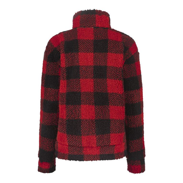 H&H Women's Zip Collar Sherpa Sweatshirt, Red/Black, hi-res