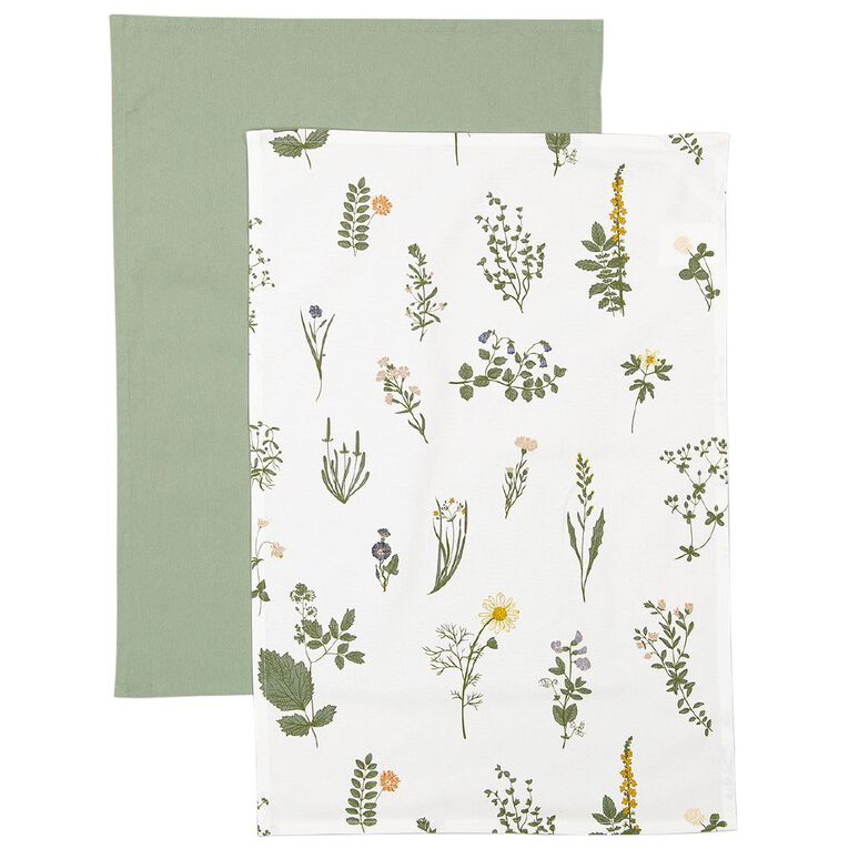 Living & Co Tea Towel Herb 2 Pack 50cm x 70cm, , hi-res