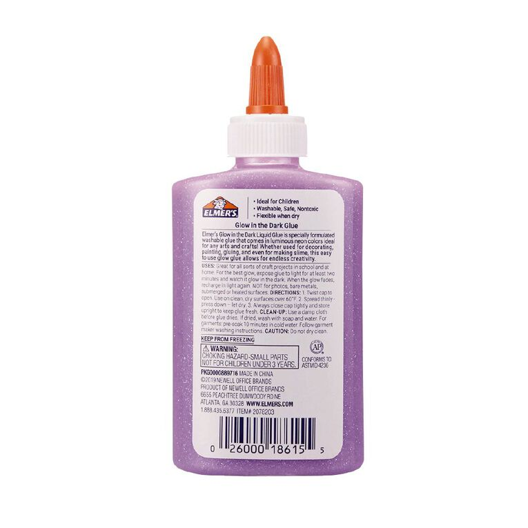 Elmer's Glow in the Dark Liquid Glue 147ml Purple, , hi-res