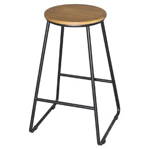 Living & Co Stool Metal Black Leg with Wooden Top