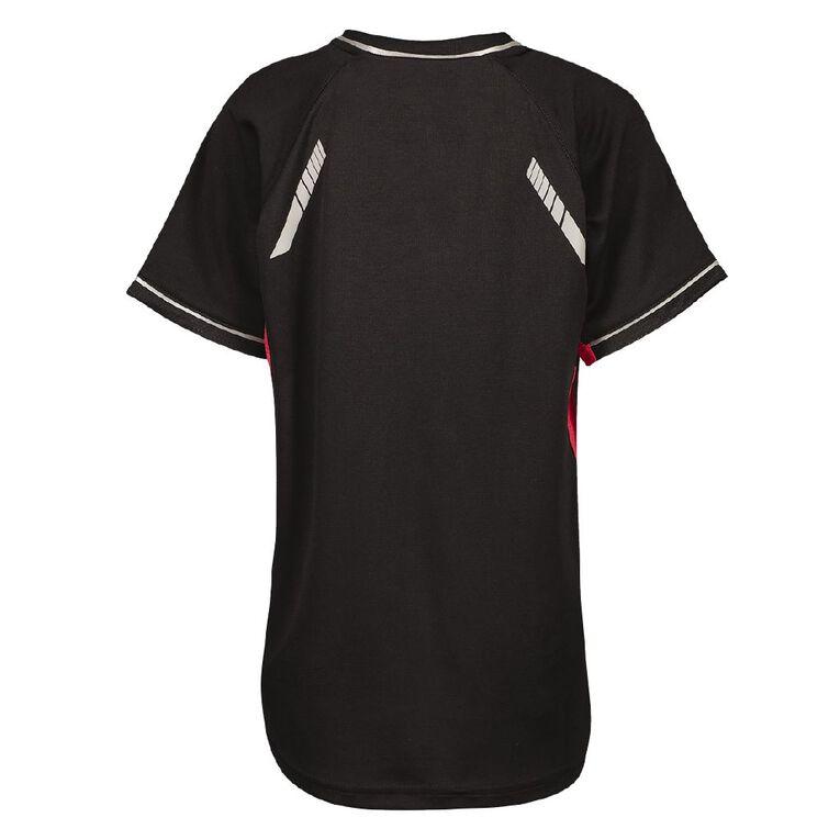 Schooltex Renegade Short Sleeve Tee, Black/Red, hi-res