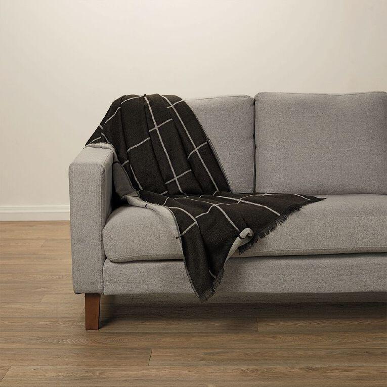 Living & Co Classic Grid Throw Black 127cm x 152cm, Black, hi-res